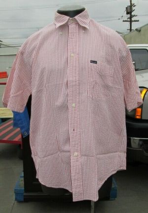 Façonnable Dress Shirt Button Down Short Sleeve Large Brick 100% Cotton