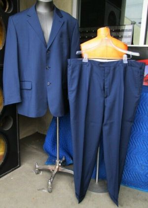 Gironde Blue Coat Blazer Suit Jacket Dress Pants 60 Reg