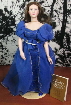 """Franklin Heirloom 13"""" Porcelain Brunette Doll with Royal Blue Dress Original Box"""