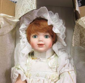"Franklin Hierloom Orange Hair Christening Gown 16"" Doll w/ Original Box and Tag"