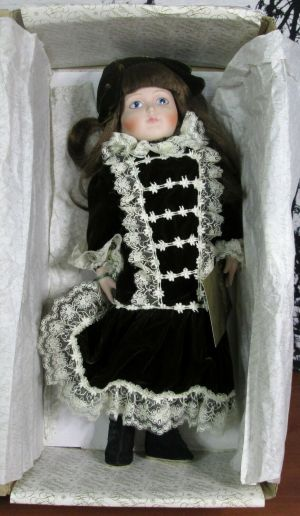 "Franklin Heirloom Emily Centennial Porcelain 15"" Doll In Original Box"