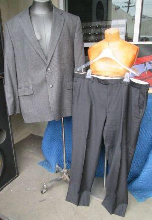 Joseph Abboud Black and Gray Gingham Coat Blazer Suit Jacket Dress Pants 48 Reg