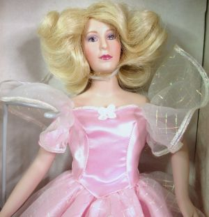 Franklin Mint Porcelain Doll Pink Dress Fairy Godmother Butterfly Sleeves 1988