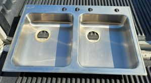 """Just DL-ADA-2233 33"""" Stainless Steel Sink Drop In 4-Hole 16"""" x 14"""" Double Basin"""