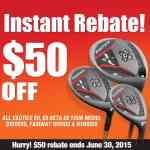 The limited time instant rebate offer motivates immediate action as the rebate amount is taken off the at check-out