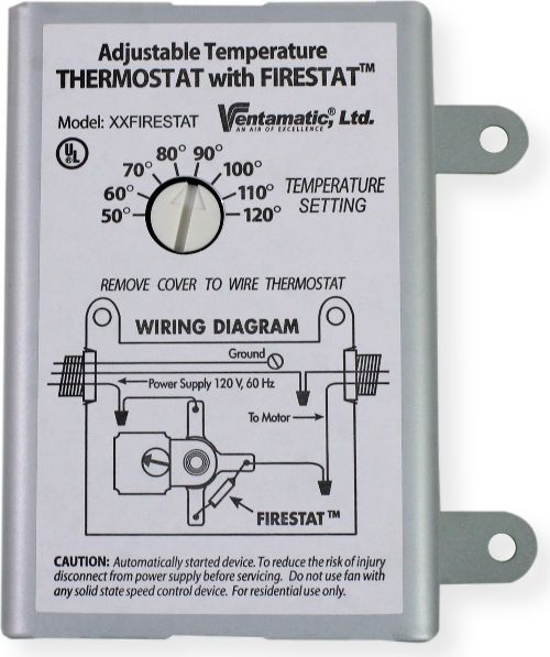 ventamatic cool attic xxfirestat adjustable thermostat for