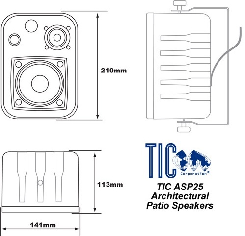 TIC ASP25-B Speaker System, 2 speakers System Components