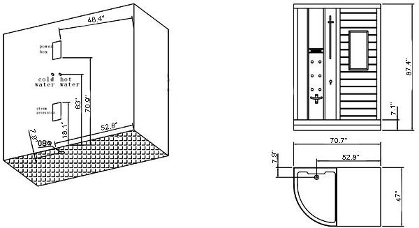 Ariel Platinum DS202 Steam Shower, Steam / Dry sauna combo