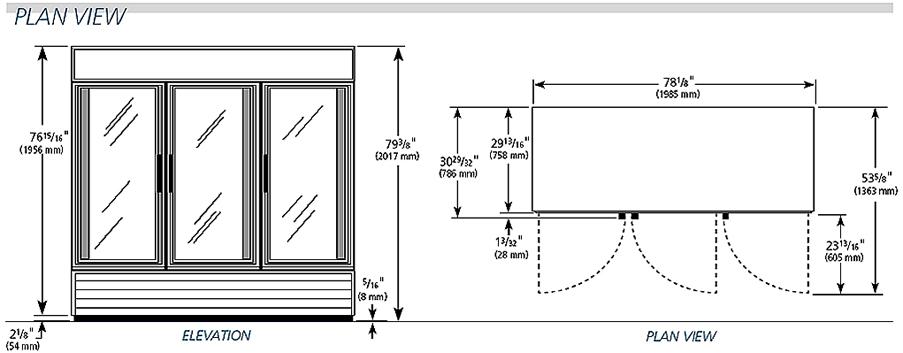 True GDM-72 Glass Door Refrigerator, Swing Doors, 72 Cu.Ft