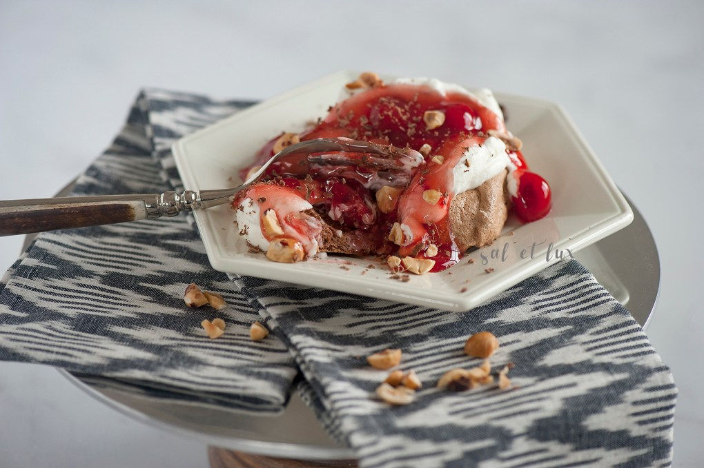 hazelnut-pavlovas-with-spiked-cherry-topping