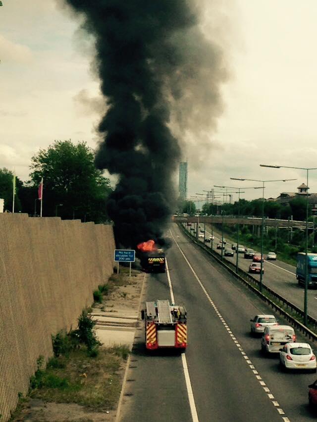 billowing smoke Lindsey Hulse Davies lorry fire m602