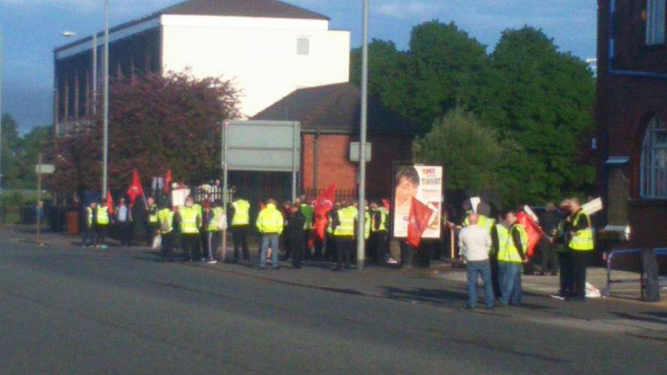 Unite members take to picket lines in Cheetham Hill this morning