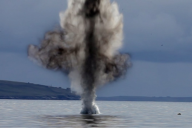 Orkney Torpedo destroyed in a controlled explosion © MOD