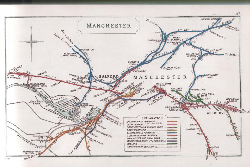 A 1910 Railway Clearing House Junction Diagram showing railways in the vicinity of Pendleton - Wikipedia