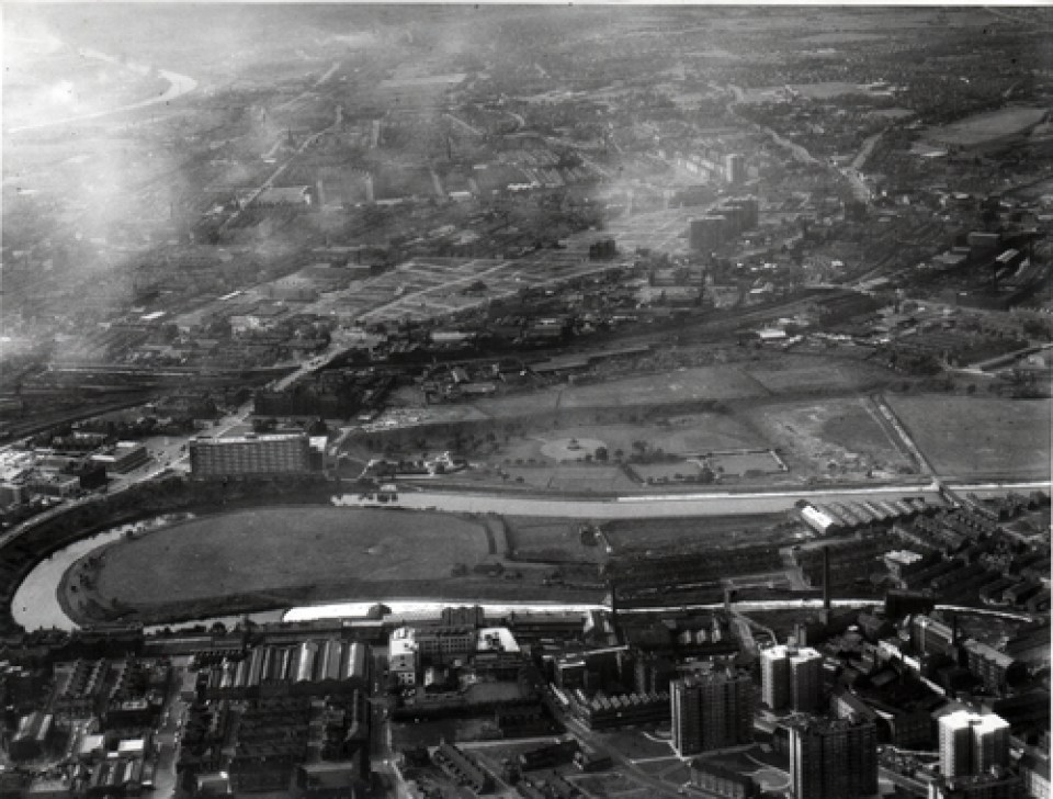 Aerial view over Peel Park in 1960 © Salford.Photos