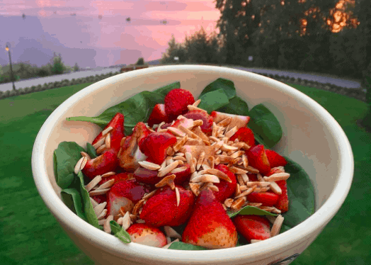 Spinach Strawberry Salad with almonds & a balsamic vinaigrette