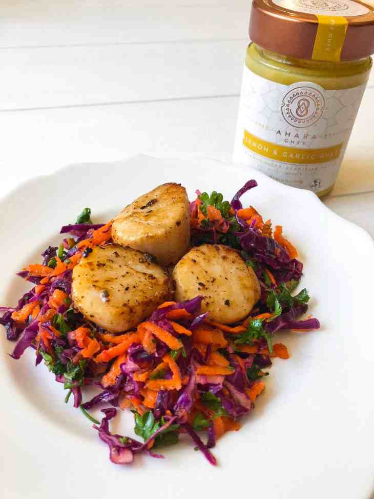 Seared Scallops with Purple Cabbage Slaw