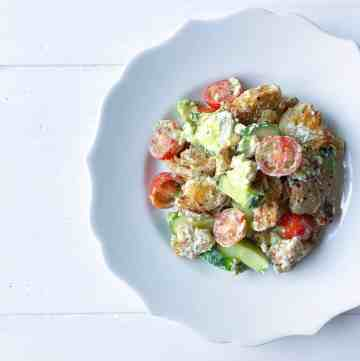Vegan Panzanella Salad with Creamy Green Dressing