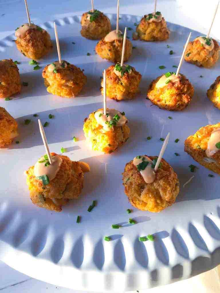 gluten free crab cake bites with spicy aioli