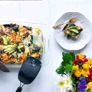 Breakfast Strata with Italian Kale & Sharp White Cheddar