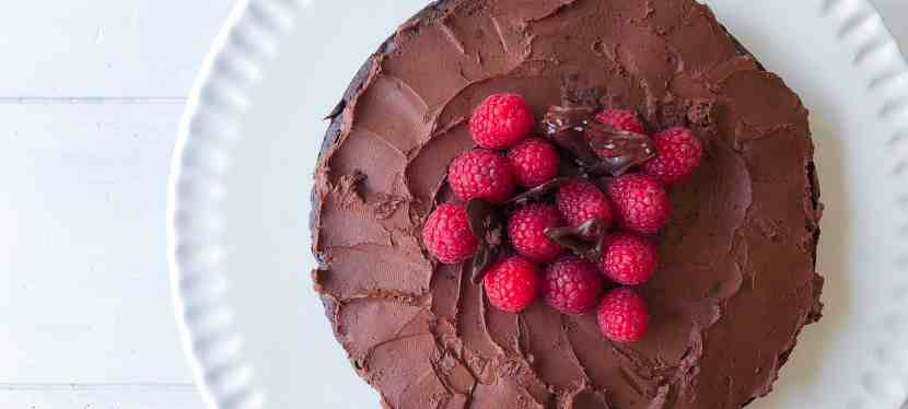 Flourless Gluten-free Chocolate Cake with Raspberries & Chocolate Hearts