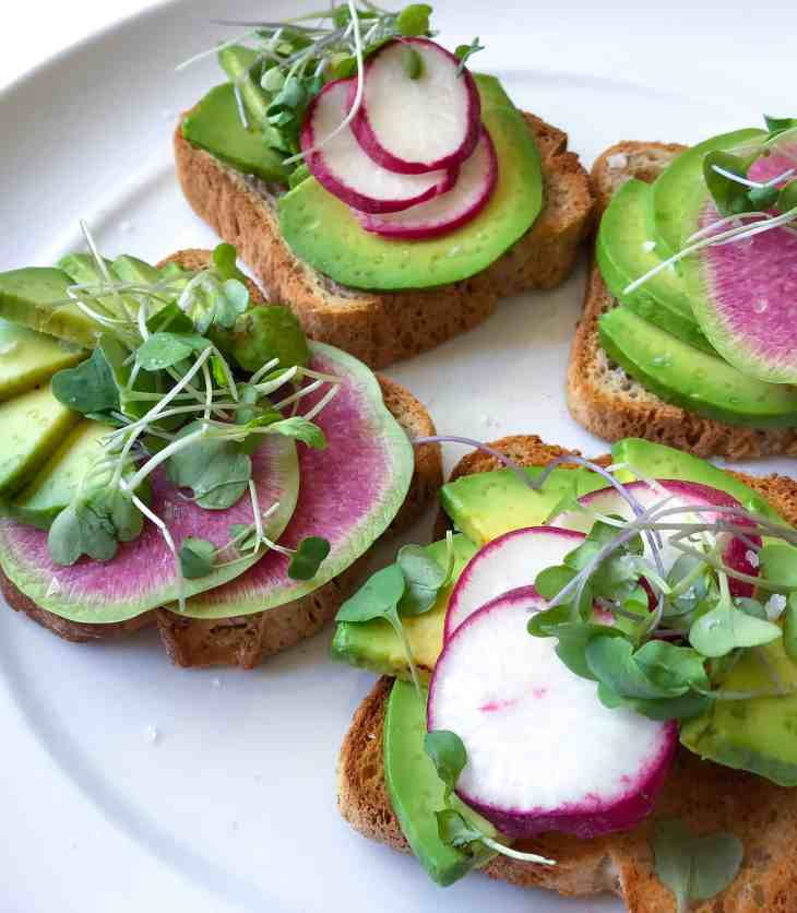 Avocado Toast with Watermelon Radish and Micro-greens