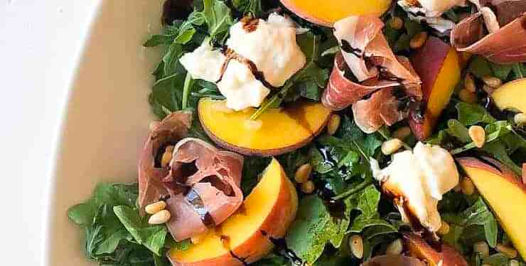 Peach Prosciutto Arugula Salad with Toasted Pine Nuts and Burrata Cheese