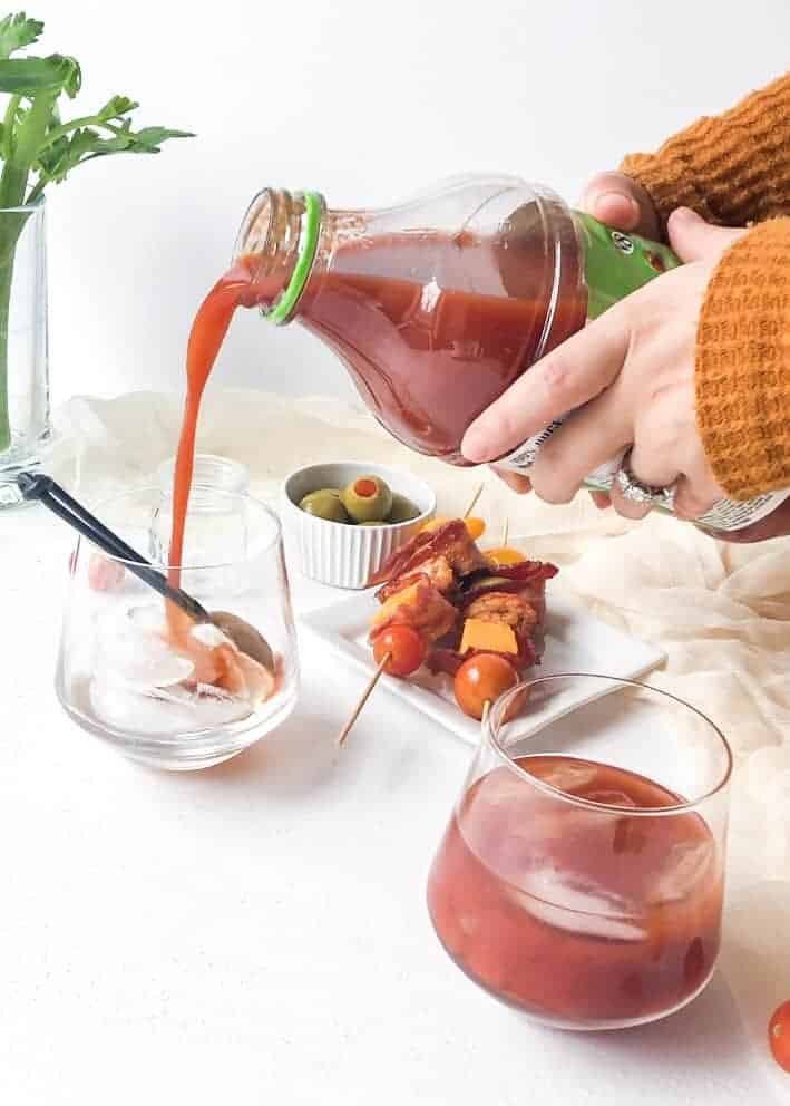 Spicy Bloody Marys with Candied Bacon & Shrimp