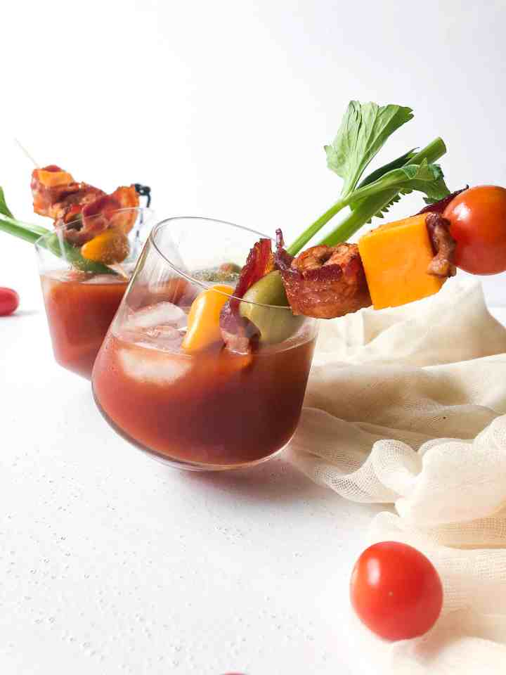 Spicy Bloody Marys with Candied Bacon & Spicy Shrimp
