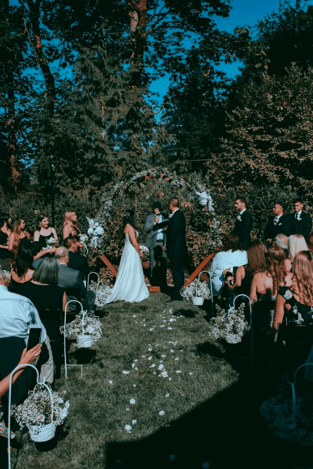 Bride and groom at our backyard wedding.