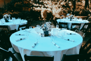 Table arrangements at our backyard wedding.