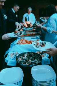 The buffet line at our backyard wedding.