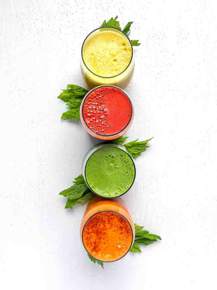 A quartet of freshly squeezed juice.