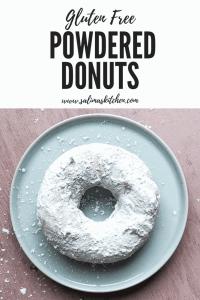 A single gluten free powdered donut.