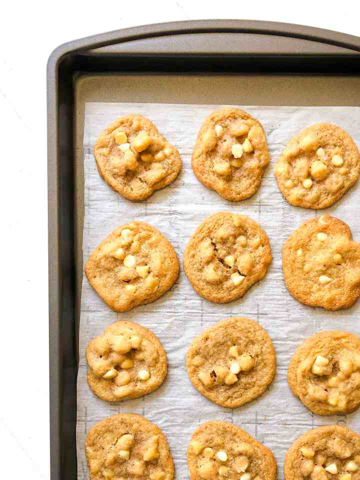 A tray of white chocolate chip macadamia nut cookies.