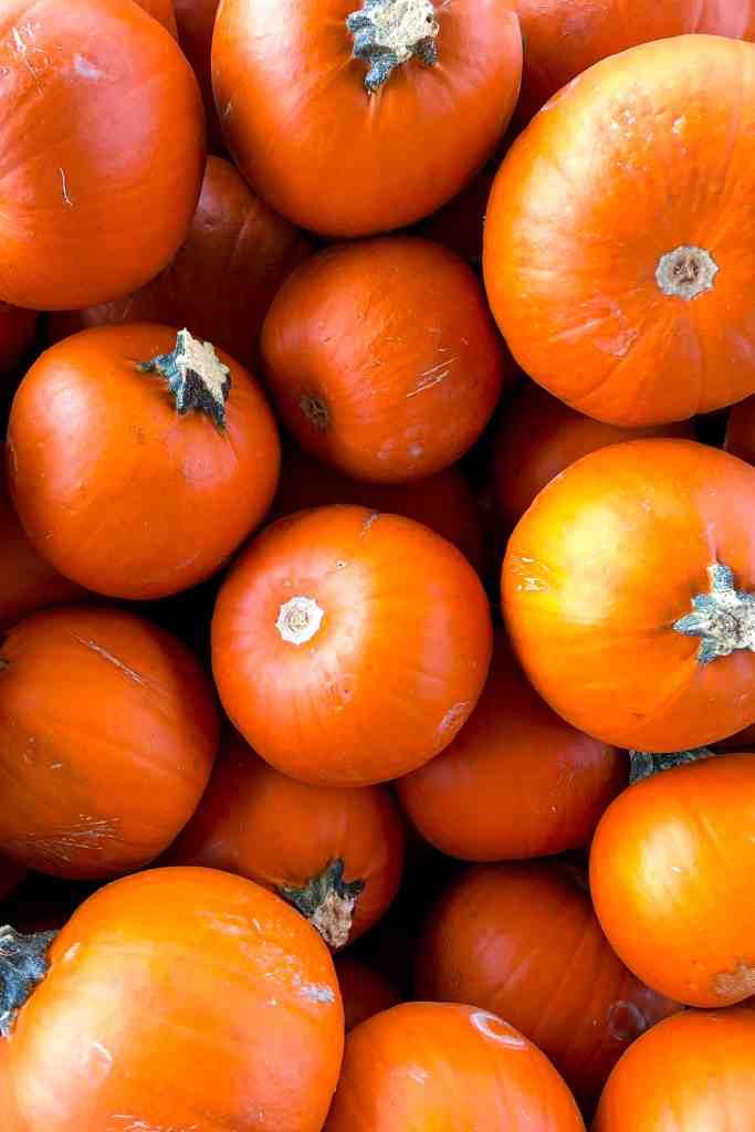A basket full of pumpkins.