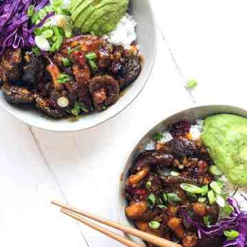 Two servings of Mongolian Shiitake Mushroom Bowls.