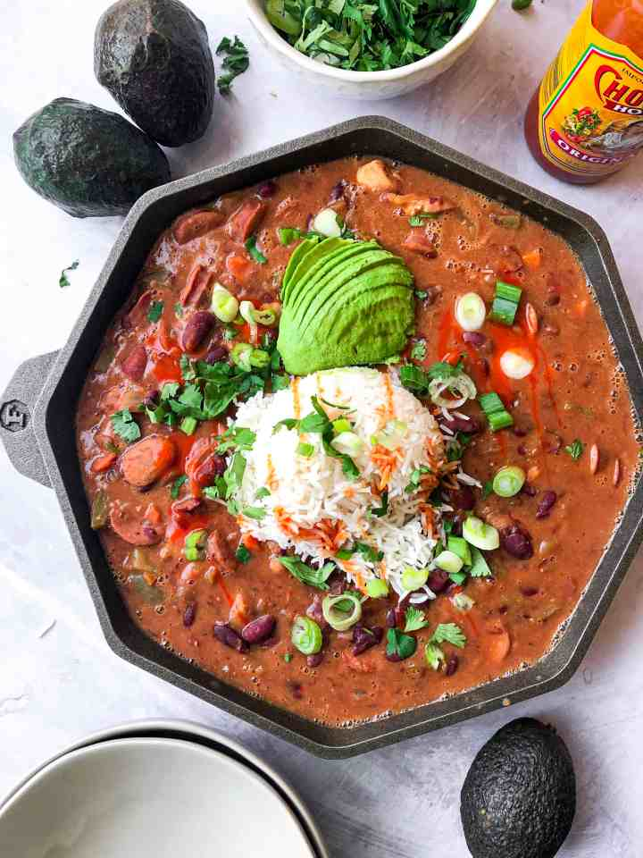 New Orleans Style Red Beans with Rice in a Finex cast iron.