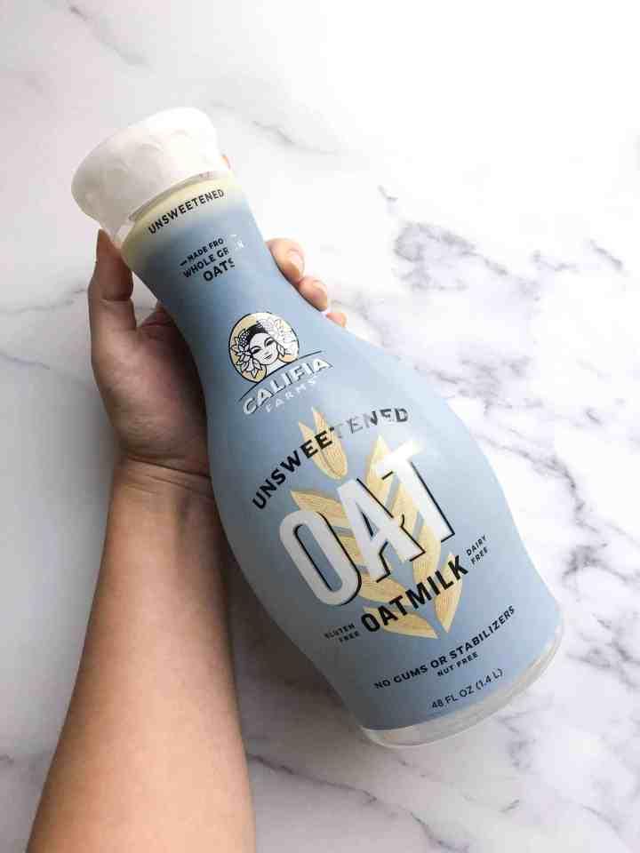 A bottle of Califia farms oat milk.