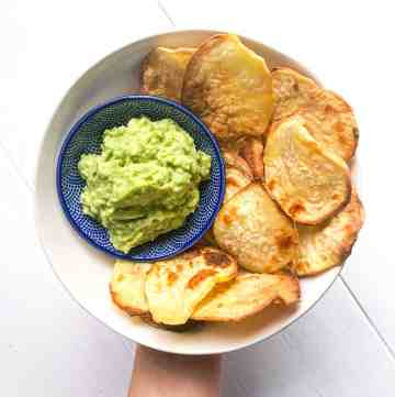 A bowl of AIP sweet potato chips.