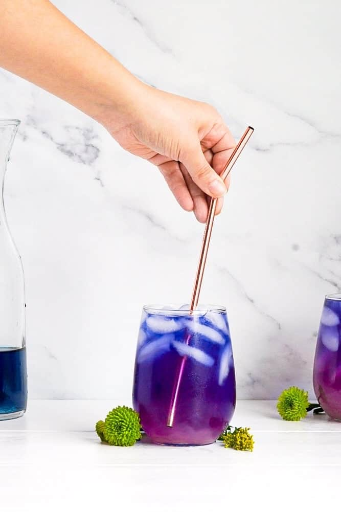 Butterfly pea flower lemonade.