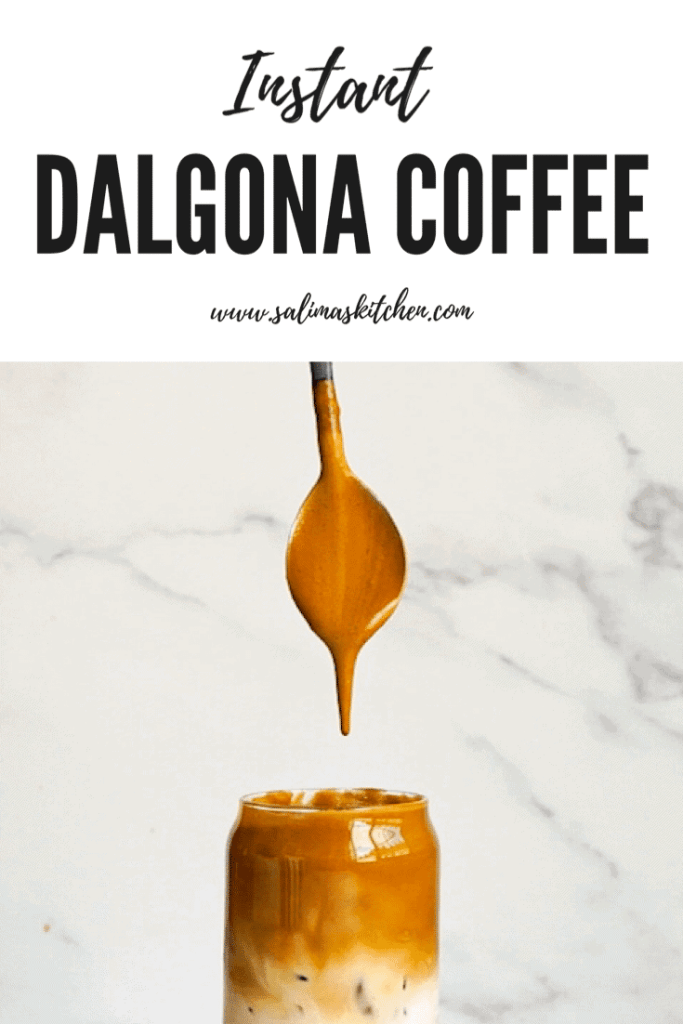 A Dalgona Coffee Latte with a spoon.