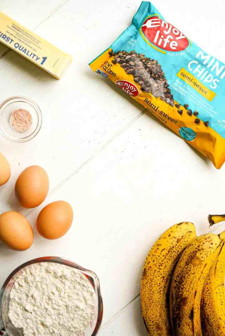 Ingredients for banana oat muffins.
