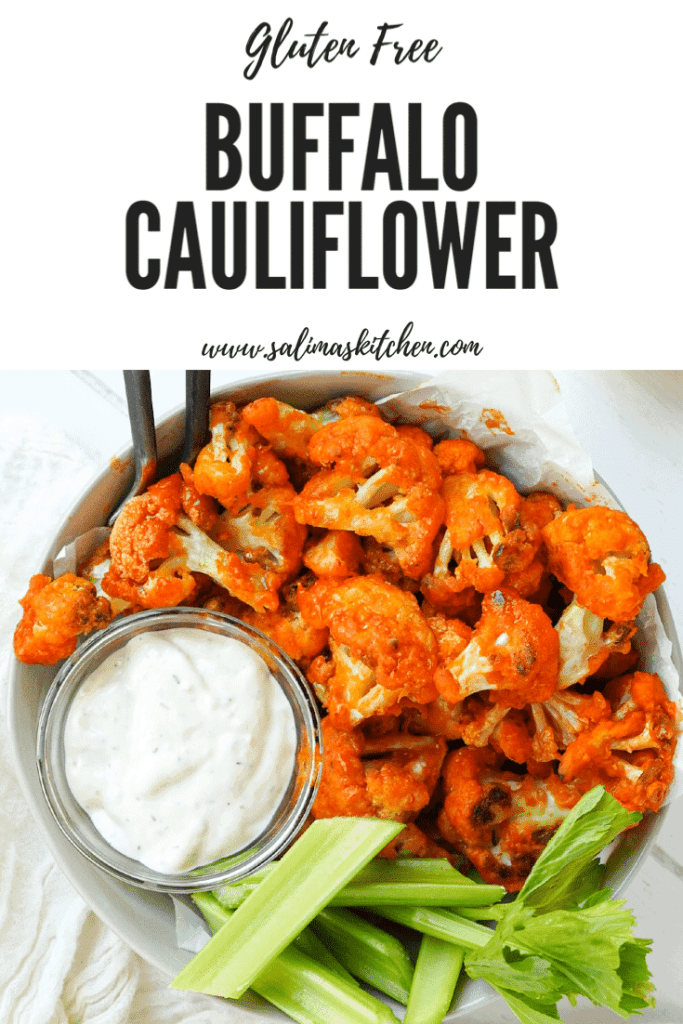 A bowl of A bowl of Crispy Oven Baked Buffalo Cauliflower with blue cheese.