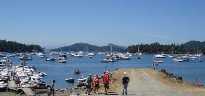 Winter Cove is crowded with boats for the popular Canada Day lamb barbecue on Saturna Island.