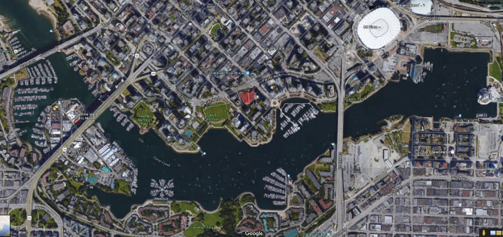Google map of False Creek