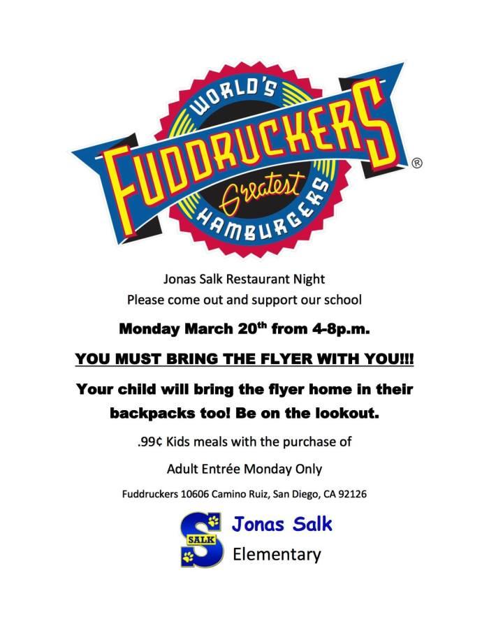 2017.03.20 - Fuddruckers PTA Restaurant Night FLYER