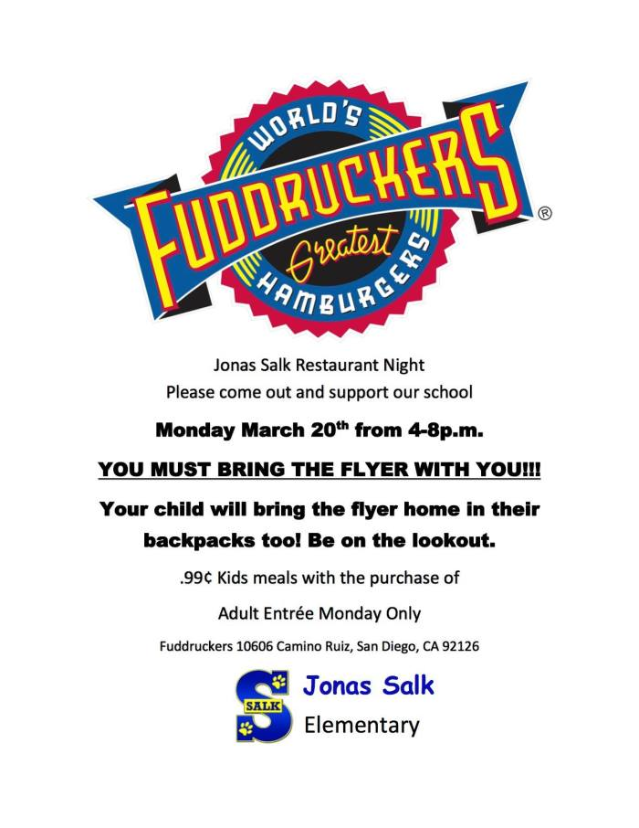 2017.03.20 - Fuddruckers PTA Restaurant Night FLYER