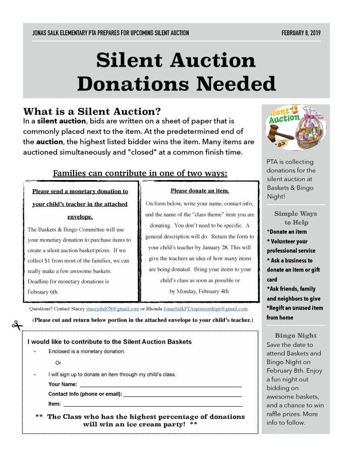 2019.02.08 - Silent Auction Donations Flyer