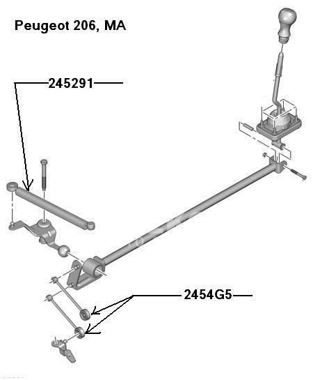cięgno biegów Peugeot 206 138/2x9 MA z tłumikiem
